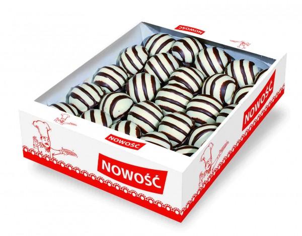 54312 – 1.4Kg Turta dulce umpl. caise cu glaz. cacao si alba – Piernik dek.