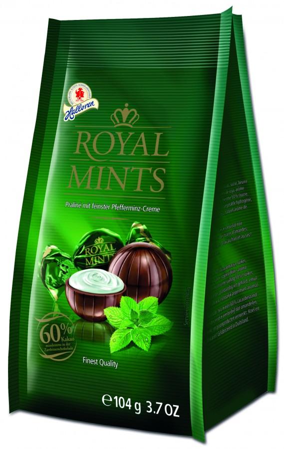 Halloren-104g Royal Mints Praline de ciocolată cu cremă fină de mentă