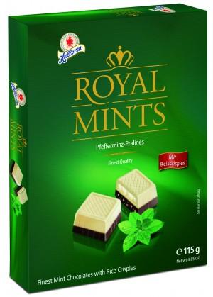 Halloren-115g Royal Mints Ciocolată cu cremă fină de mentă și orez crocant